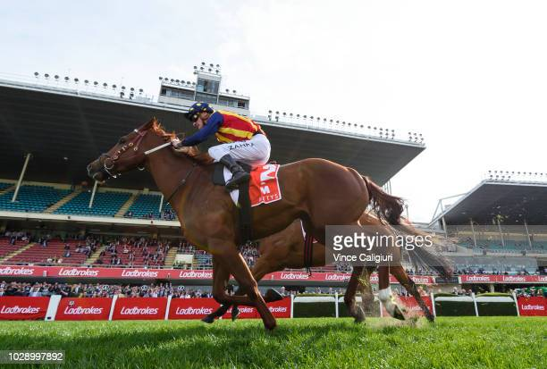 Mark Zahra riding Nature Strip winning Race 5 McEwen Stakes during Melbourne Racing at Moonee Valley Racecourse on September 8 2018 in Melbourne...