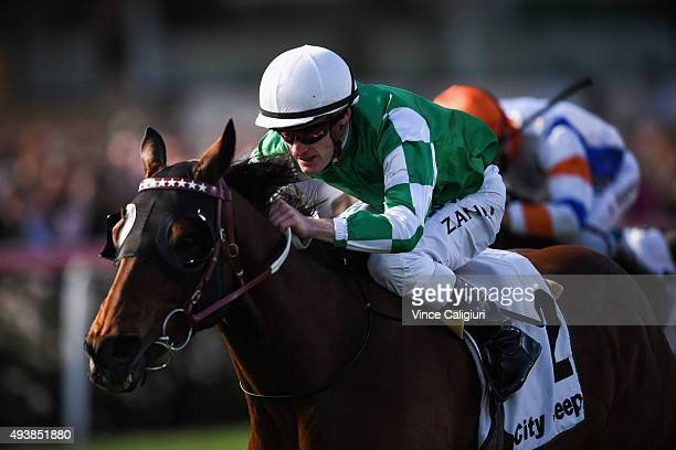 Mark Zahra riding Our Voodoo Prince wins Race 3 during Manikato Stakes Night at Moonee Valley Racecourse on October 23 2015 in Melbourne Australia