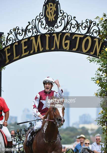 Mark Zahra riding Palentino after winning Race 7 the Australian Guineas during Melbourne Racing at Flemington Racecourse on March 5 2016 in Melbourne...
