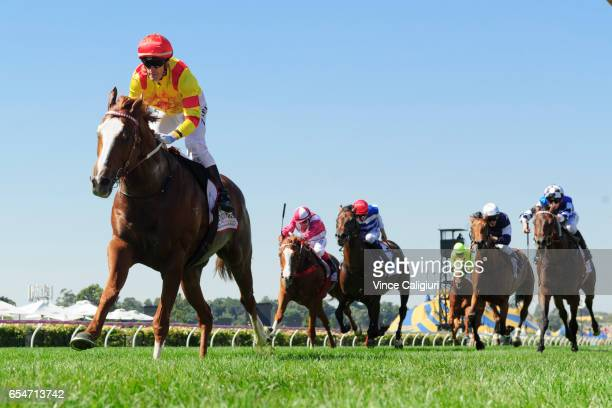 Mark Zahra riding Palentino wins Race 5 Blamey Stakes during Melbourne Racing at Flemington Racecourse on March 18 2017 in Melbourne Australia