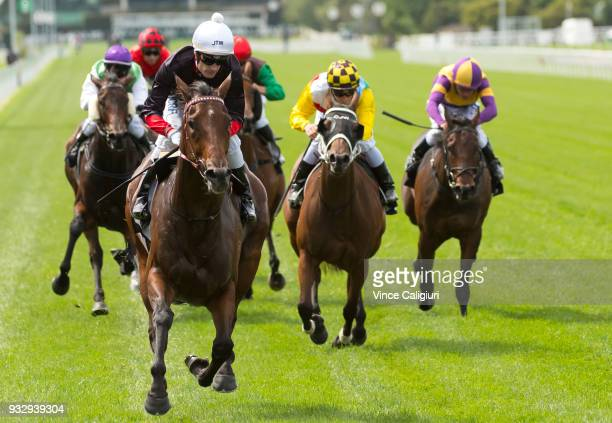 Mark Zahra riding Quilista wins Race 1 during Melbourne Racing at Flemington Racecourse on March 17 2018 in Melbourne Australia