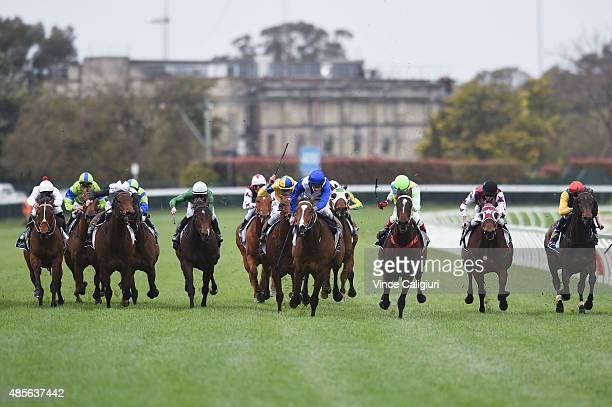 Mark Zahra riding Real Time winning Race 3 during Melbourne racing at Caulfield racecource on August 29 2015 in Melbourne Australia