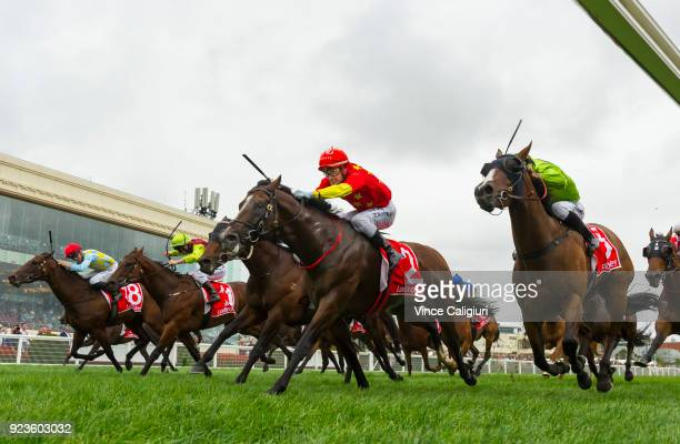 Mark Zahra riding Russian Revolution defeats Beau Mertens riding Snitty Kitty in Race 8 Oakleigh Plate during Melbourne Racing at Caulfield...