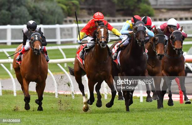 Mark Zahra riding Russian Revolution defeats Damian Lane riding Heatherly and Craig Williams riding Houtzen in Race 5 Mitty's McEwen Stakes during...