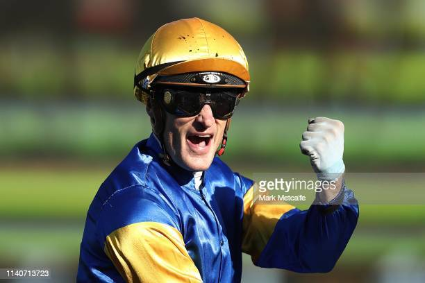 Mark Zahra riding Santa Ana Lane celebrates winning race 8 The TJ Smith Stakes during day one of The Championships as part of Sydney Racing at Royal...