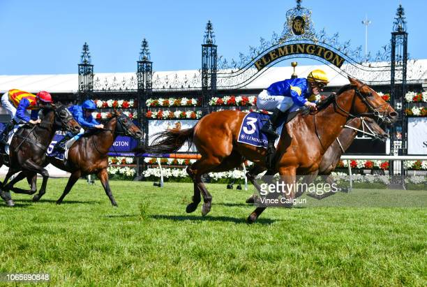 Mark Zahra riding Santa Ana Lane defeats Corey Brown riding In Her Time in Race 7 VRC Sprint Classic during Stakes Day at Flemington Racecourse on...