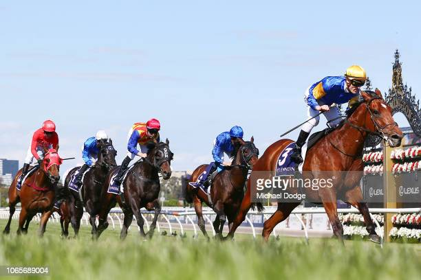 Mark Zahra riding Santa Ana Lane wins race 7 the VRC Sprint classic during Stakes Day at Flemington Racecourse on November 10 2018 in Melbourne...