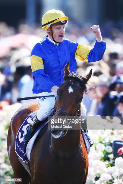 Mark Zahra riding Santa Ana returns to scale after winning race 7 the VRC Sprint classic during Stakes Day at Flemington Racecourse on November 10...