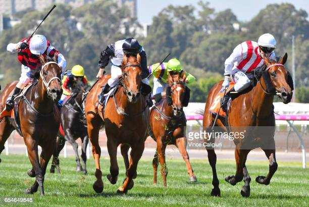 Mark Zahra riding Shoals wins Race 4TBV Thoroughbred Breeders Stakes during Melbourne Racing at Flemington Racecourse on March 18 2017 in Melbourne...