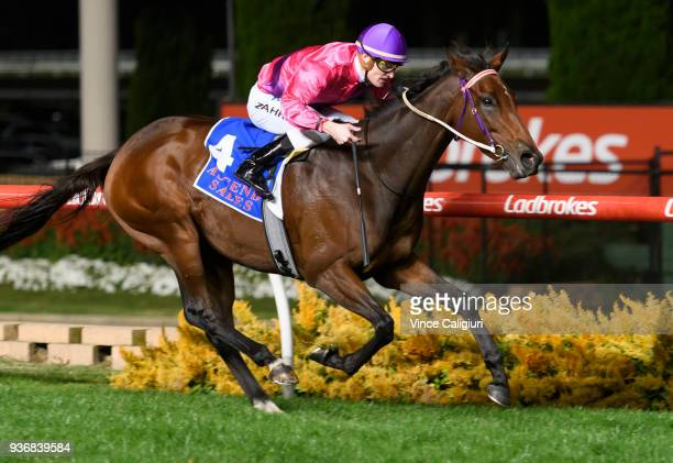 Mark Zahra riding Spanish Reef wins Race 6 Sunline Stakes during Melbourne Racing at Moonee Valley Racecourse on March 23 2018 in Melbourne Australia