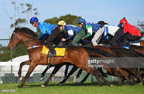 Mark Zahra riding Star of Lisbon contesting heat 5 of jump outs at Caulfield Racecourse on October 6 2015 in Melbourne Australia