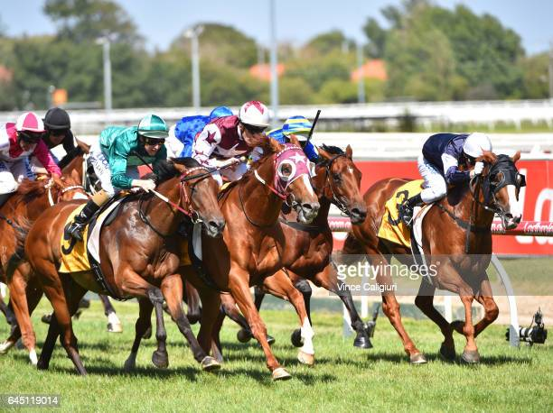 Mark Zahra riding Stratum Star defeats Damian Lane riding Humidor in Race 6 Peter Young Stakes during Melbourne Racing at Caulfield Racecourse on...