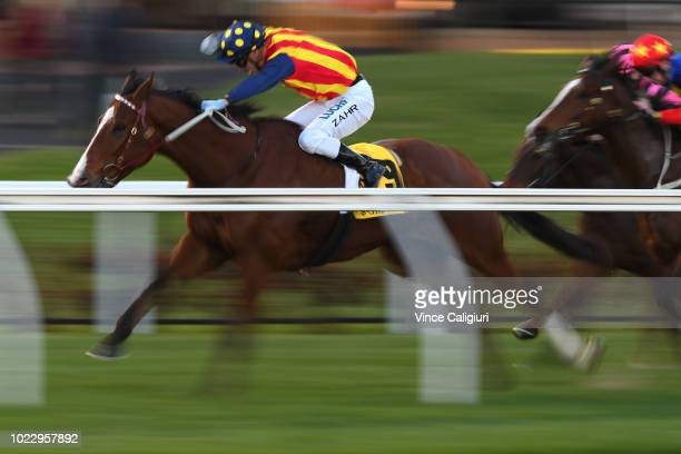 Mark Zahra riding Theanswermyfriend winning Race 9 during Melbourne Racing at Mooney Valley Racecourse on August 25 2018 in Melbourne Australia