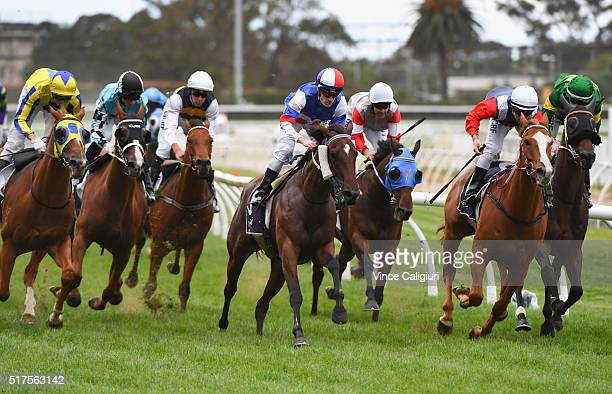 Mark Zahra riding Ungrateful Ellen winning Race 6 during Melbourne Racing at Caulfield Racecourse on March 26 2016 in Melbourne Australia