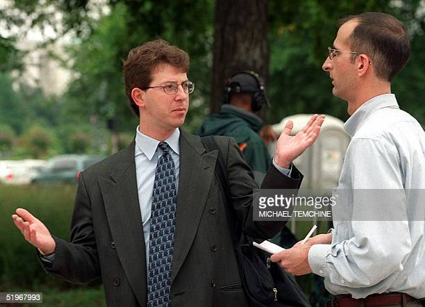 Mark Zaid attorney for Egyptian billionaire Mohammed Al Fayed speaks to a reporter 31 August 2000 outside of the US District Courthouse in Washington...