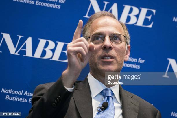 Mark Zandi chief economist at Moody's Analytics Inc speaks during the National Association of Business Economics economic policy conference in...