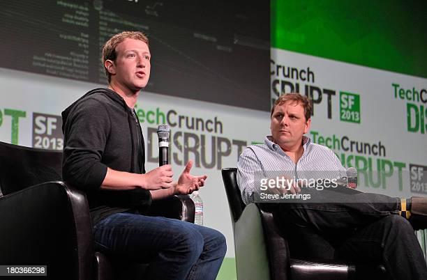 Mark Zuckerberg and Michael Arrington attend Day 3 of TechCrunch Disrupt SF 2013 at San Francisco Design Center on September 11, 2013 in San...