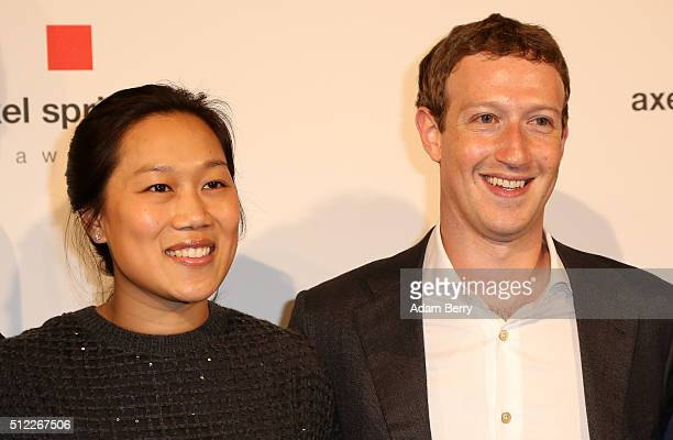 Mark Zuckerberg and Priscilla Chan arrive for the presentation of the first Axel Springer Award on February 25 2016 in Berlin Germany
