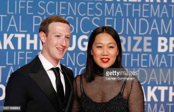 Mark Zuckerberg and Priscilla Chan attend the 2019 Breakthrough Prize at NASA Ames Research Center on November 4 2018 in Mountain View California
