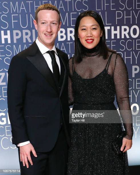 Mark Zuckerberg and Priscilla Chan attend the 7th Annual Breakthrough Prize Ceremony at NASA Ames Research Center on November 4 2018 in Mountain View...