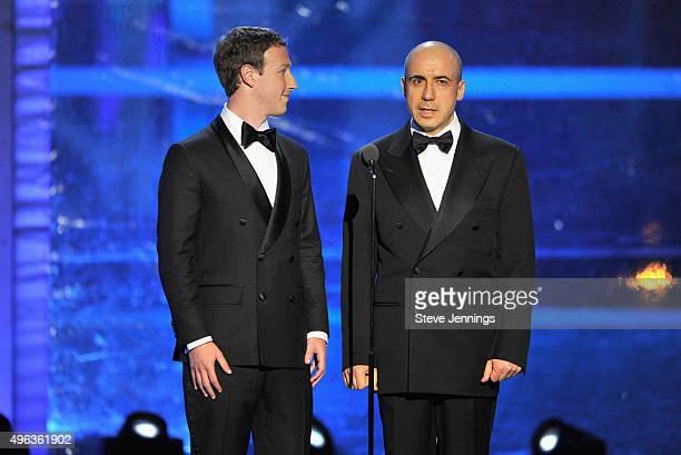 Mark Zuckerberg and Yuri Milner speak onstage during the 2016 Breakthrough Prize Ceremony on November 8 2015 in Mountain View California