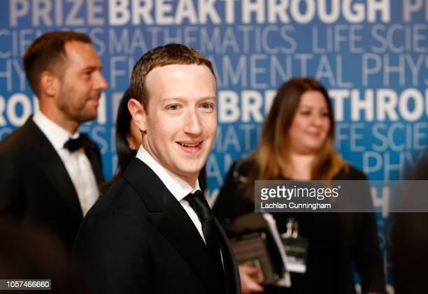 Mark Zuckerberg attends the 2019 Breakthrough Prize at NASA Ames Research Center on November 4 2018 in Mountain View California