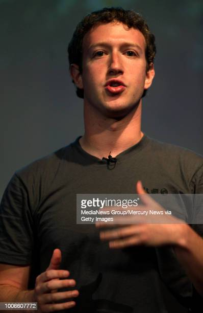 Mark Zuckerberg CEO of Facebook which he founded in 2004 answers quesitons during a press conference Microsoft announced more collaboration with the...