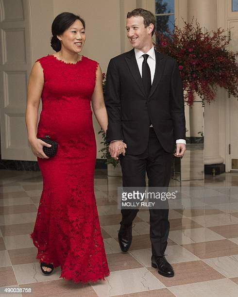 Mark Zuckerberg Chairman and CEO of Facebook and his wife Priscilla Chan arrive for a State Dinner hosted by US President Barack Obama for Chinese...