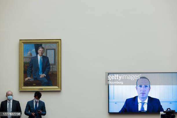 Mark Zuckerberg, chief executive officer and founder of Facebook Inc., speaks via videoconference during a House Judiciary Subcommittee hearing in...