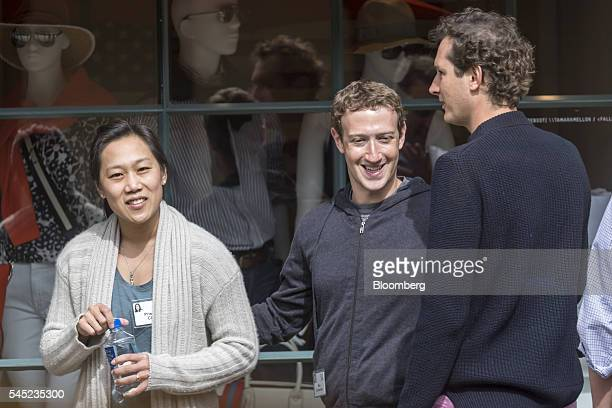 Mark Zuckerberg chief executive officer and founder of Facebook Inc center and his wife Priscilla Chan left speak with John Elkann chairman of Fiat...