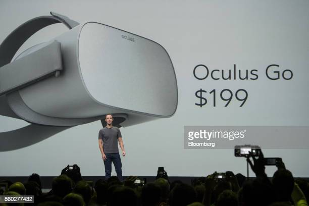 Mark Zuckerberg chief executive officer and founder of Facebook Inc pauses while speaking during the Oculus Connect 4 product launch event in San...