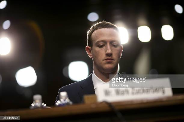 Mark Zuckerberg chief executive officer and founder of Facebook Inc listens during a joint hearing of the Senate Judiciary and Commerce Committees in...