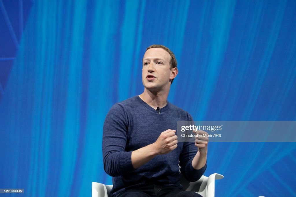 Mark Zuckerberg, chief executive officer and founder of Facebook Inc. attends the Viva Tech start-up and technology gathering at Parc des Expositions Porte de Versailles on May 24, 2018 in Paris, France. The VivaTech exhibition in Paris brings together nearly 1800 start ups alongside the largest international groups.