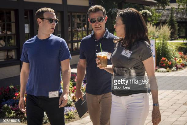 Mark Zuckerberg chief executive officer and founder of Facebook Inc from left Dan Rose vice president of partnerships and platform marketing at...