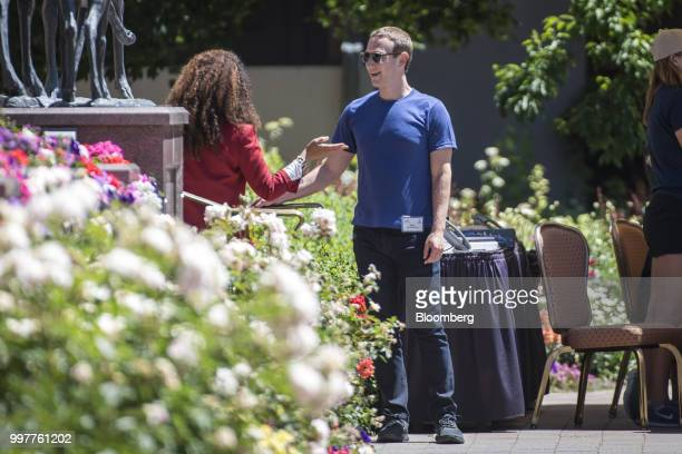 Mark Zuckerberg chief executive officer and founder of Facebook Inc speaks with Felicia Horowitz founder of Horowitz Family Foundation after a...