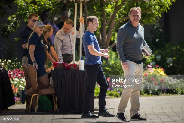 Mark Zuckerberg chief executive officer of Facebook and NFL Commissioner Roger Goodell attend the annual Allen Company Sun Valley Conference July 12...