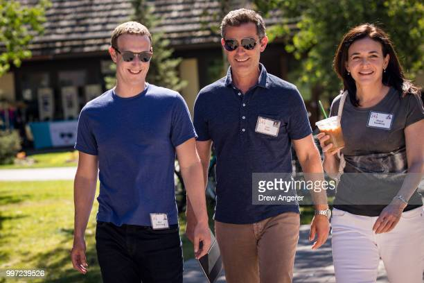 Mark Zuckerberg chief executive officer of Facebook Dan Rose vice president partnerships at Facebook and Sheryl Sandberg chief operating officer of...