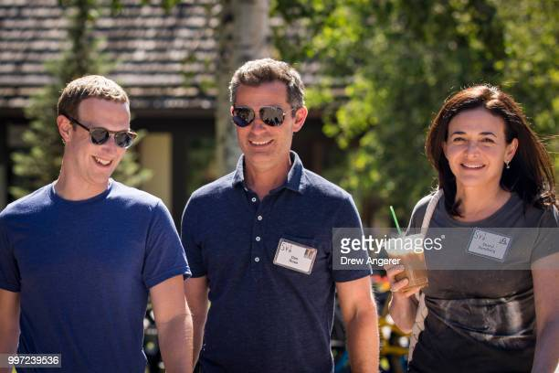 Mark Zuckerberg chief executive officer of Facebook Dan Rose vice president partnerships at Facebook and Sheryl Sandberg chief operating officer of...