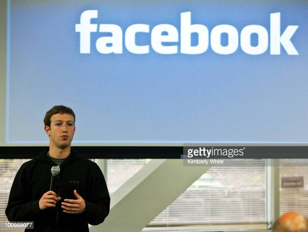 Mark Zuckerberg chief executive officer of Facebook holds a press conference at their headquarters in Palo Alto California May 26 2010 Zuckerberg...