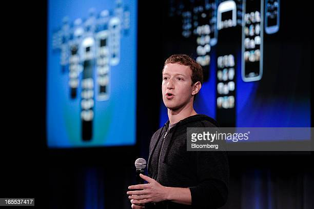 Mark Zuckerberg chief executive officer of Facebook Inc speaks during an event in Menlo Park California US on Thursday April 4 2013 Facebook unveiled...