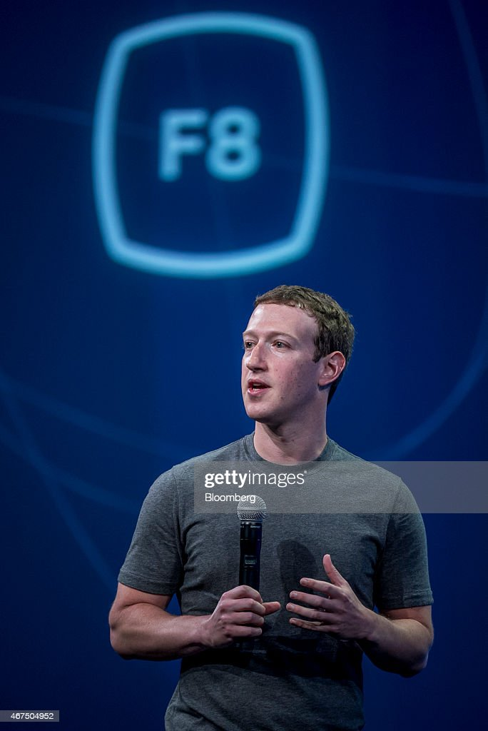 Mark Zuckerberg, chief executive officer of Facebook Inc., speaks during the Facebook F8 Developers Conference in San Francisco, California, U.S., on Wednesday, March 25, 2015. Facebook Inc. is opening up its Messenger chat application, letting developers create software for people to add photos, videos and other enhancements to their online conversations. Photographer: David Paul Morris/Bloomberg via Getty Images