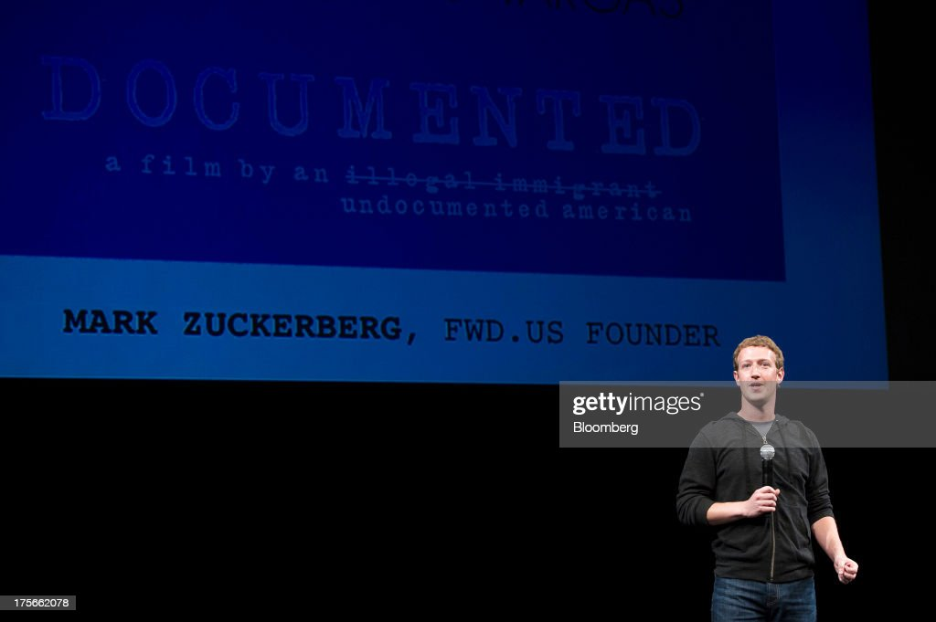 Mark Zuckerberg, chief executive officer of Facebook Inc., speaks prior to a screening of 'Documented' in San Francisco, California, U.S., on Monday, Aug. 5, 2013. 'Documented' is a film written and directed by Jose Antonio Vargas, an undocumented immigrant. Photographer: David Paul Morris/Bloomberg via Getty Images
