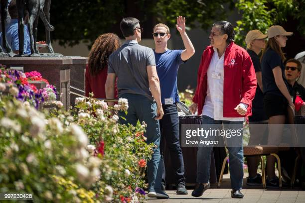 Mark Zuckerberg chief executive officer of Facebook speaks with Felicia Horowitz founder of Horowitz Family Foundation and wife of venture capitalist...