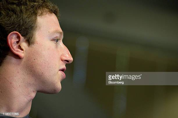 Mark Zuckerberg cofounder and chief executive officer of Facebook Inc speaks at a press event at Facebook headquarters in Palo Alto California US on...