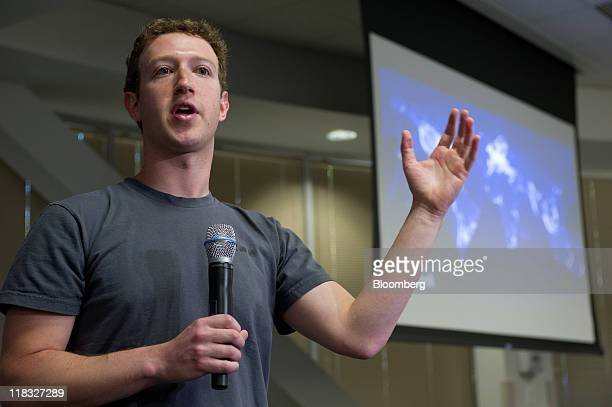 Mark Zuckerberg cofounder and chief executive officer of Facebook Inc speaks during a press event at Facebook headquarters in Palo Alto California US...
