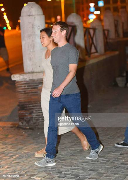 Mark Zuckerberg is seen with his wife Priscilla Chan during a private visit to the Colosseum on August 29 2016 in Rome Italy