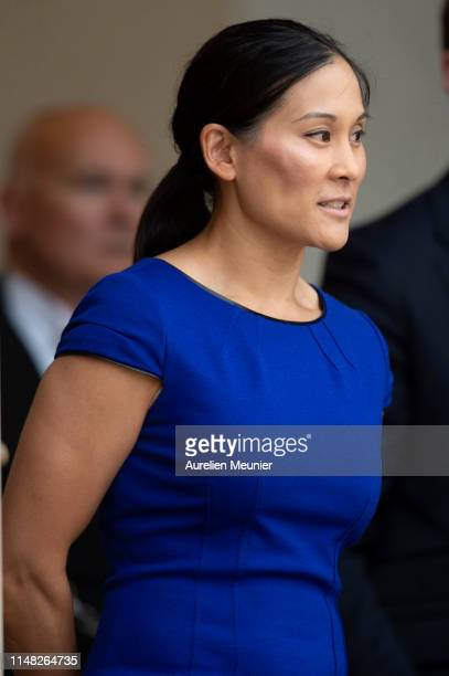 Mark Zuckerberg' s wife Priscilla Chan leaves the Elysee Palace after a meeting between French President Emmanuel Macron and Mark Zuckerberg on May...