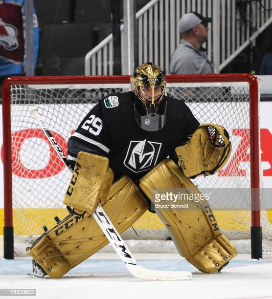 MarkAndre Fleury tends net during warmups prior to the 2019 Honda NHL AllStar Game at SAP Center on January 26 2019 in San Jose California
