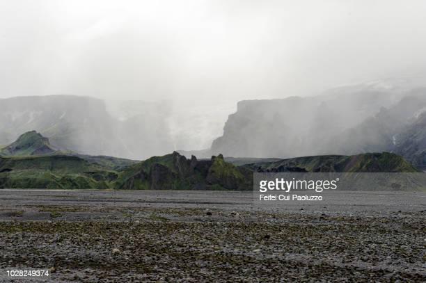 markarfljotsaurar outwash plains, south central iceland - extremlandschaft stock-fotos und bilder