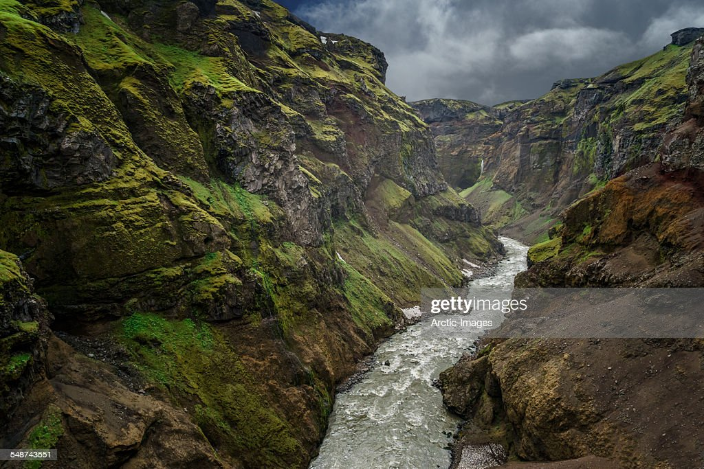 Markarfljot river canyon, a glacial river, located on the South Coast of Iceland